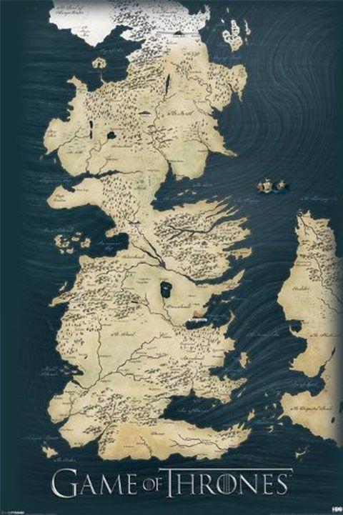 Poster da parete con mappa del Trono di Spade