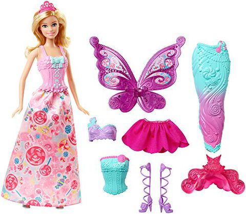Barbie Fairytale - Dress Up Bambola con 3 Completini