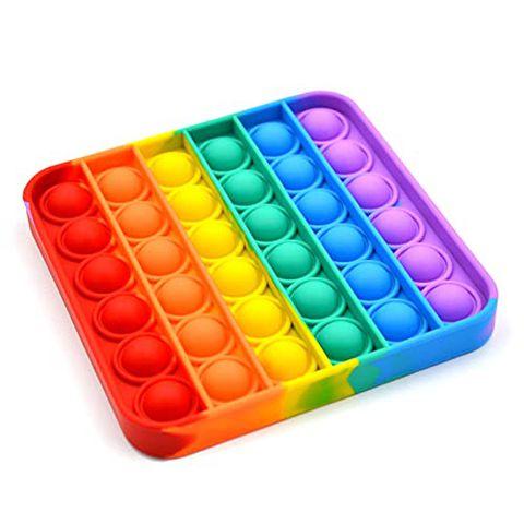 Pop It Bubble Fidget Toy, Gioco Antistress Rilassante per Adulti e Bambini (Quadrato Arcobaleno)