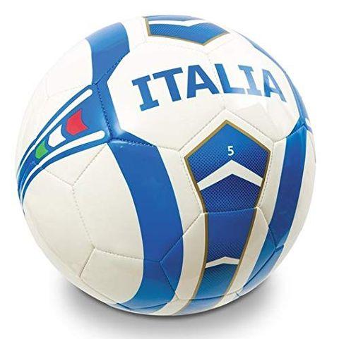 Pallone da Calcio Cucito Italia Team, Colore Bianco Azzurro